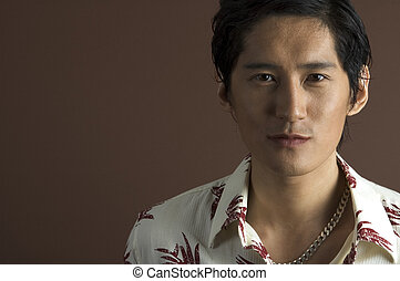 Relaxed 2 - A male asian model in a casual shirt