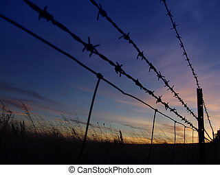 Barbed Sunrise - Barbed Fence Silhouette
