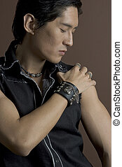 Male Model 3 - A muscular asian male model in leather and...