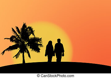 Sunset silhouette - Silhouette of a couple against a sunset...