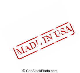 Made in USA - Rubber stamp with text made in usa red letters...