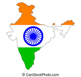 India - Map of india filled with a plain indian flag