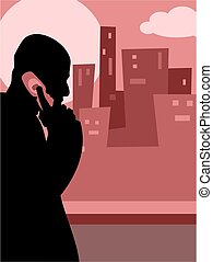 City Call - man chatting on mobile phone
