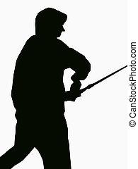 Fishing Profile - an angler's profile in black