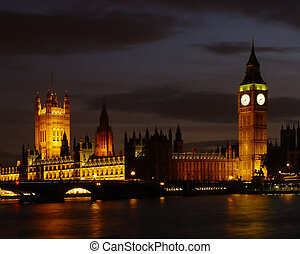Big Ben By Night - Big Ben and The Houses Of Parliament By...