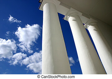 Columns 2 - White columns in blue background of sky