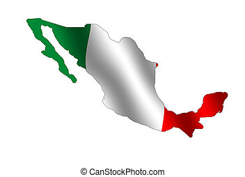 Mexico - Map of Mexico filled with its waving flag