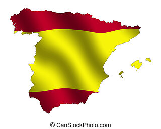 Spain - Spanish outline with waving flag as background