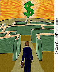 Businessman in Maze - A businessman searches for success