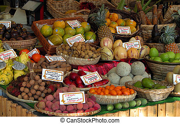Exotic Fruits Stand - a stand full of exotic fruits from a...