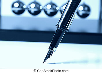 Fountain Pen in Cyan - Foutain Pen With Newtons Balls in...