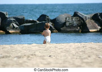Toddler at the beach - Toddler on his own at the beach