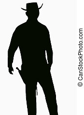 Gunfighter - A black silhouette of a gunfighter