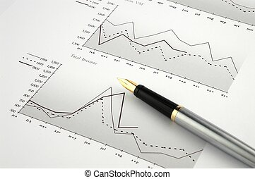 Pen and financial charts
