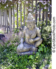 Tranquillity - Budda by a fence in Big Sur California