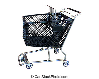 shopping cart - view of isolated shopping cart looking into...