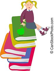 Schoolgirl - schoolgirl sitting on a pile of books