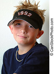 Preteen - Spike Hair - Preteen boy with spiked blond hair