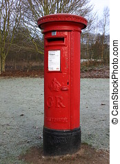 Red Pillar Box - A Red Royal Mail Pillar Box In A Rural...