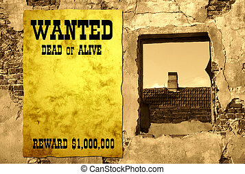Wild West scene 2 - Wild West stylized poster on the ruin,...