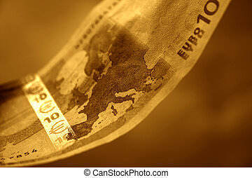 10 Euros - The close-up of 10 Euros. Toned with intense...