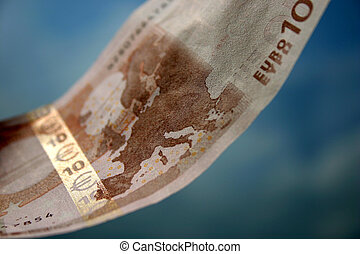 10 Euros - The close-up of 10 Euros, in the background of...