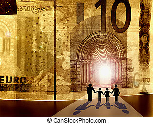Welcome to the Kingdom of Money. Conceptual image showing...