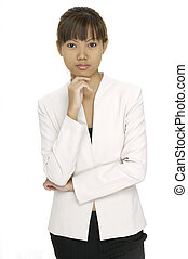 Asian Businesswoman - A pretty young asian woman in a...