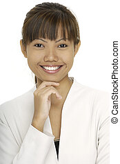 Smile - A smiling pretty asian woman in a white jacket