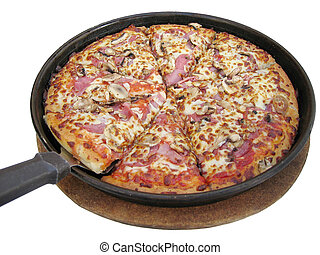 Pizza Pan - Yummy big pizza in a pan, cut into 8 pieces,...
