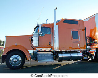 Trucker on the Road - Truck on the road. Orange and chrome....