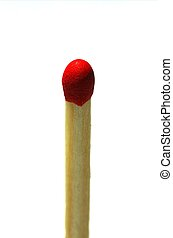 Match - A solitary match head isolated on a white background
