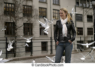 Young Woman - Young woman in an industrial area in Oslo...
