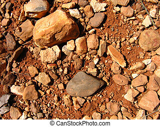 Arkansas Rocks - Red dirt and red rocks on a remote road in...