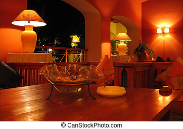 Interior Decoration - Hotel lobby decoration at night