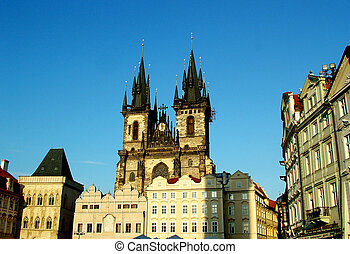 Prague - Digital photo of the Teynchurch in the historic...