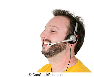 Casual Man Phone - Casual man with phone headset wearing...