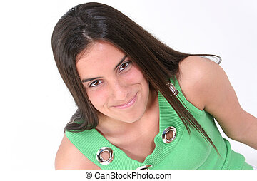 Teen Girl Smile - Close Up Of Teen In Green With Smile Over...