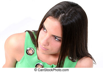 Teen Girl Serious - Close up of a teen girl with a serious...