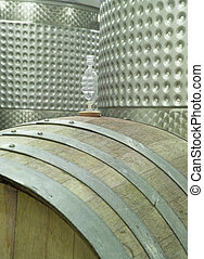 Winery,Barrel and Vat - A modern winery cellar in Michigan,...