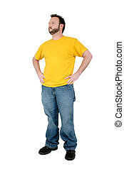 Casual Man Standing - Casual Man In Baggy Pants And Yellow...
