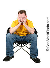 Man Sad Sitting - Casual Man Upset Sitting In Chair Over...