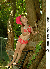 Children - Summer Cutie - Little girl in a swimsuit,playing...
