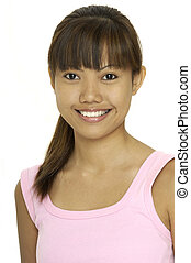 Asian Girl 1 - A young pretty asian girl in a pink top