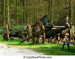Old wagon. - Two abandoned wagons.