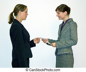 Businesscard - exchanging businesscards