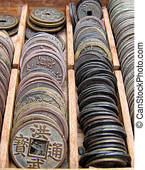 Old Coins - Some old Japanese coins in a wooden box