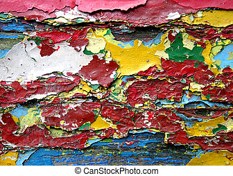 Full color wood - Full color layered desintegrated paint on...