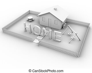 Home with House - 3d rendered image of a house with a yard...