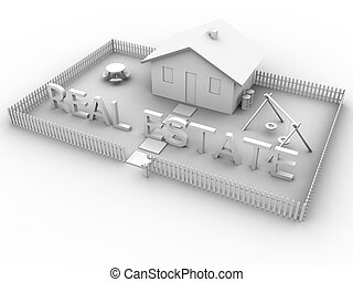 Real Estate House - 3d rendered image of a house with the...